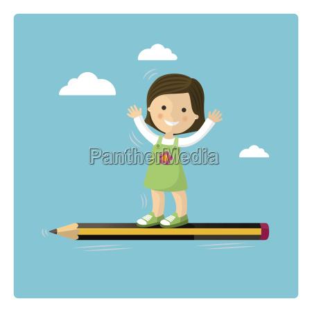 pige flyver i en blyant gennem
