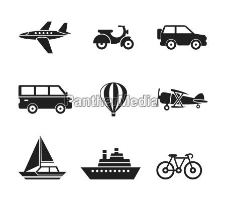 digital vector sort rejse transport ikoner