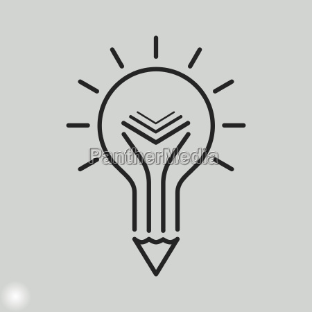 creative education icon light bulb pencil