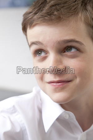 close up of thoughtful boy in