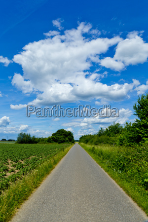 narrow road amidst field against cloudy