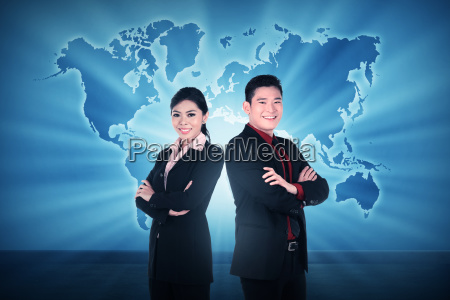 business man and woman over world