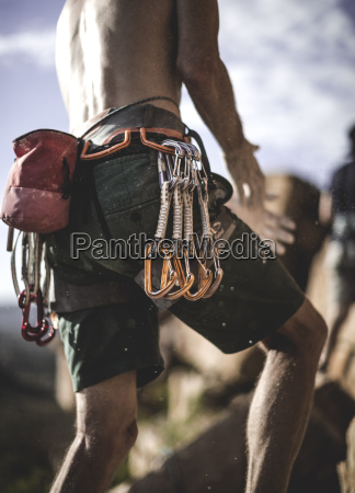 close up of a mountaineer wearing