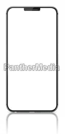smartphone med blank skaerm pa hvidt
