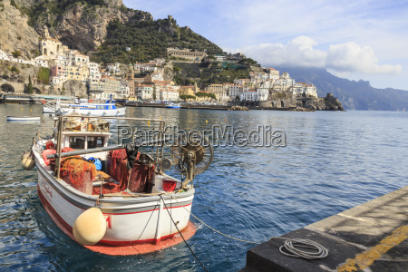 fishing boats in amalfi harbour amalfi