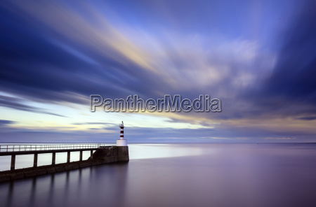 long exposure image of amble lighthouse