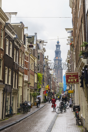 jordaan district with the spire of