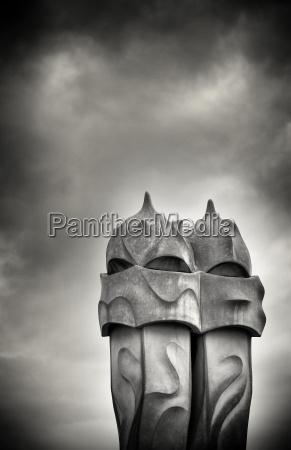 gaudi chimneys on roof of casa