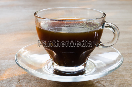 morning cup of coffee on wooden