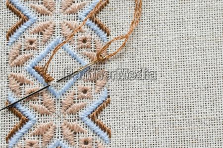 element handmade embroidery on linen