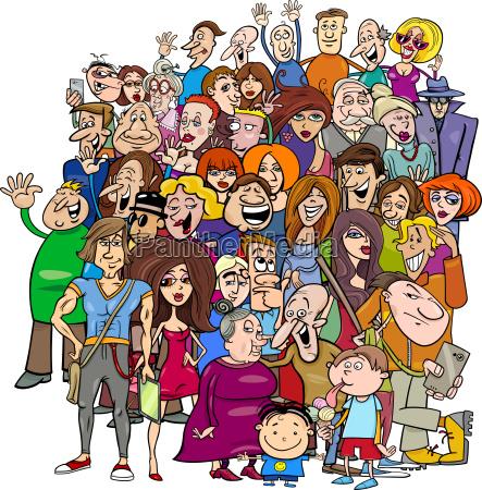 tegneserie folk gruppe i maengden