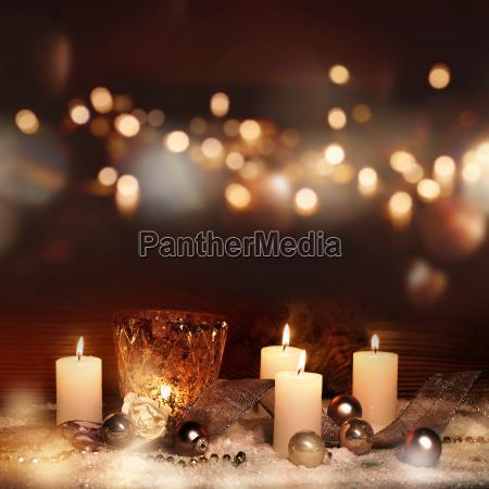vinter laegter advent dekoration lys stearinlys