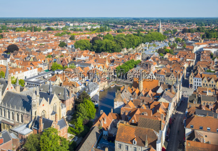 high angle view of bruges and