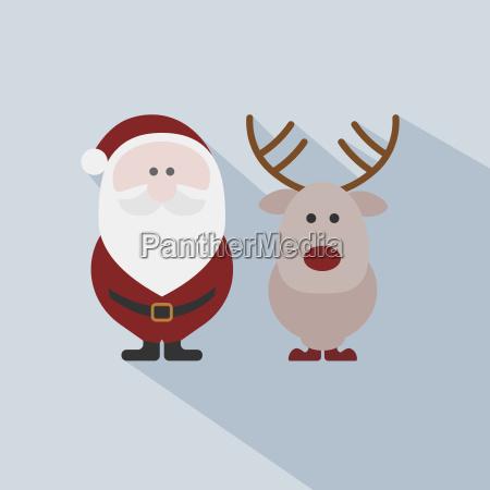 julemanden med rensdyr pa gra baggrund