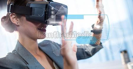 digital sammensat billede af forretningskvinde rorende