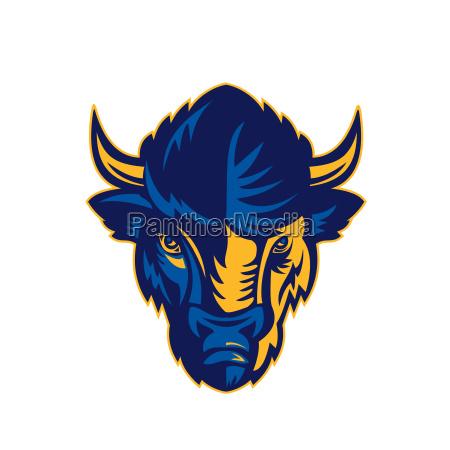 american bison head retro