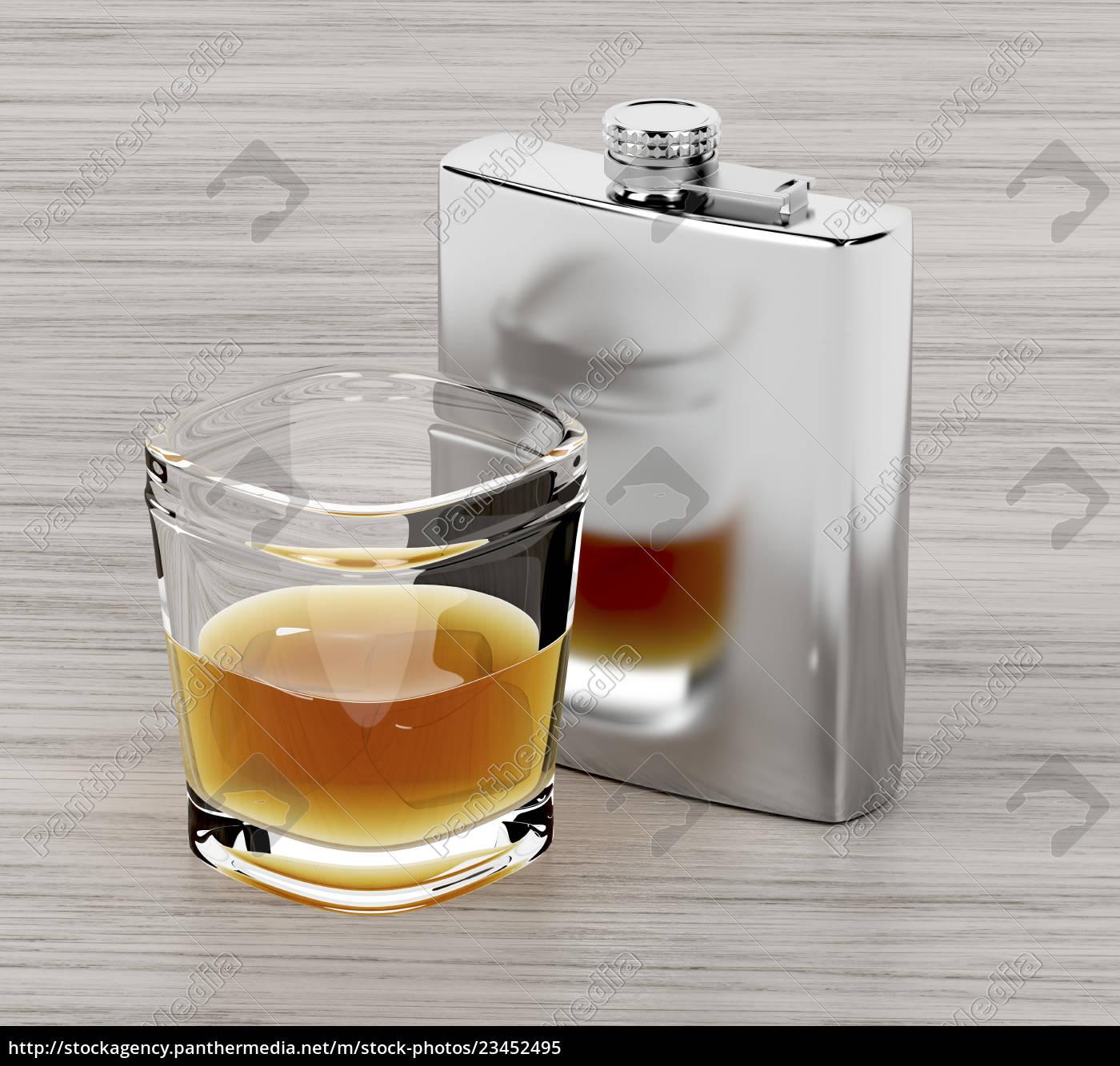 hæftekolbe, og, et, glas, brandy - 23452495