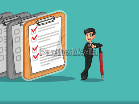 businessman in black suit cartoon character