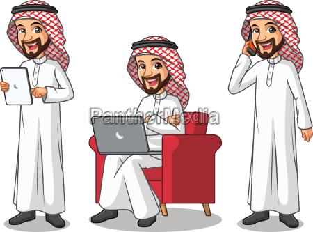 set of businessman saudi arab man