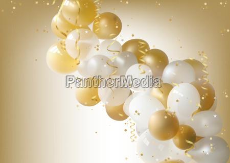 hvid og guld party balloner baggrund