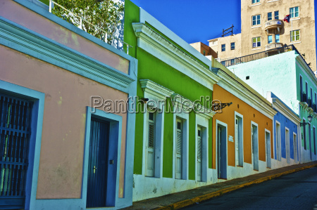 colorful buildings along steep street in