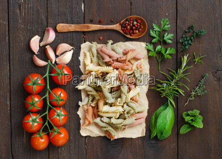 tricolor pasta vegetables and herbs
