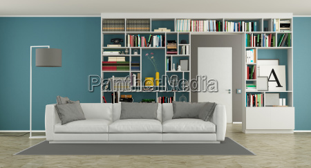 modern, living, room, with, bookcase - 23583674