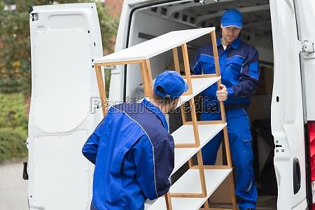 to, levering, mænd, losning, hylde, fra - 23599800