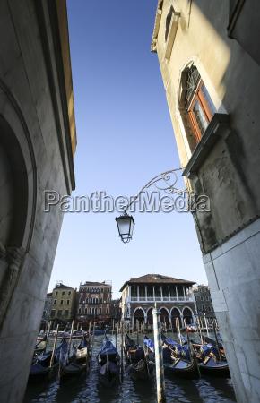 italy veneto venice alley and gondolas