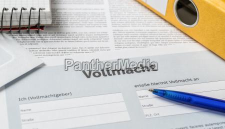 kontrakt formular fuldmagt proxy authorisor tilladelse
