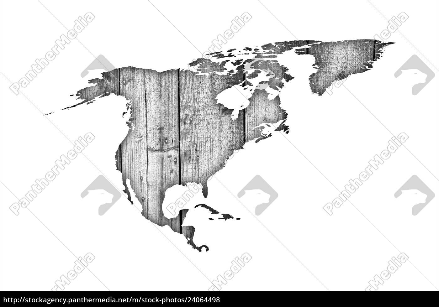 Kort Over Nordamerika Pa Forvitret Trae Stockphoto 24064498