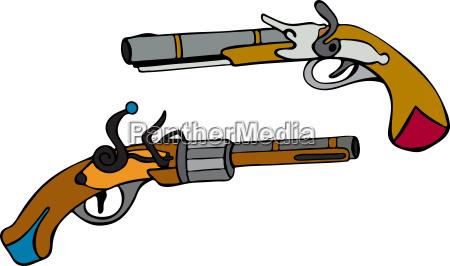 viejos pistolas dibujados a mano con