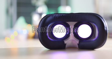 virtual reality device playing movie at