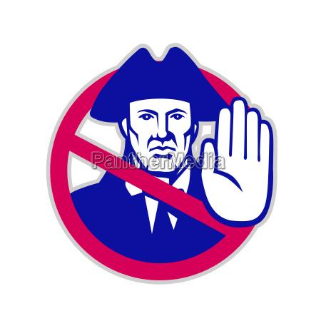 american patriot stop sign retro