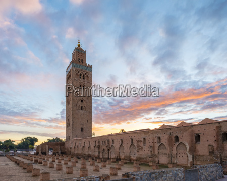 12th century koutoubia mosque at sunset