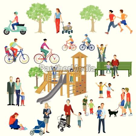 familier og folk leger i parken