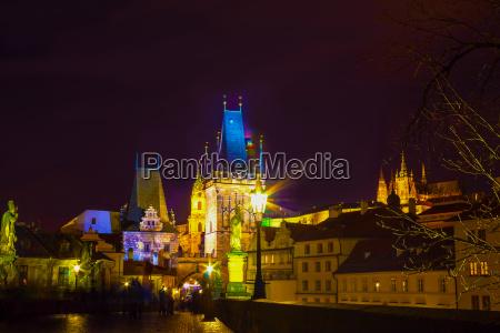 charles bridge and tower at night