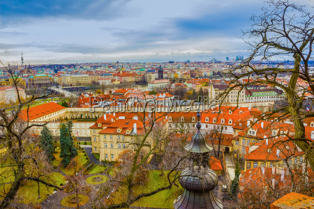 the aerial panorama of roofs at