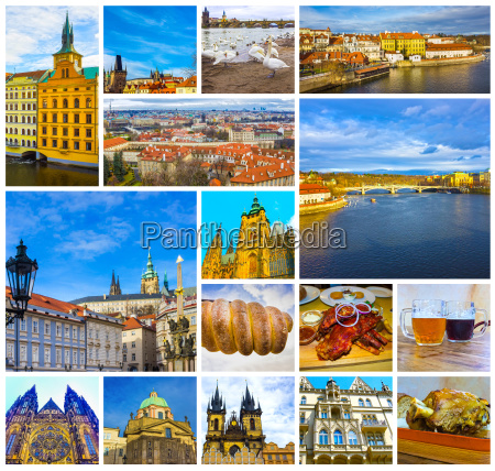 the collage of old town prague