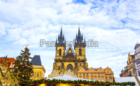 prague old town square and church