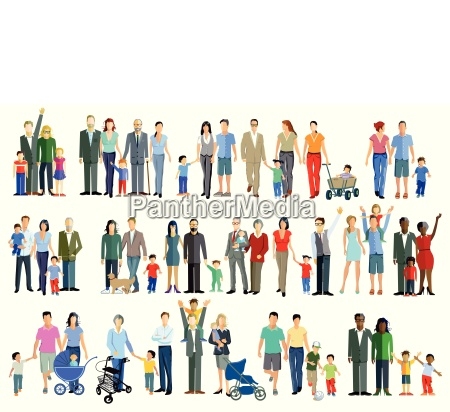familie generation grupperillustration