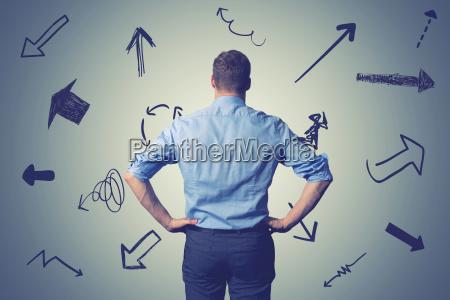 forvirret forretningsmand med retning pile valg