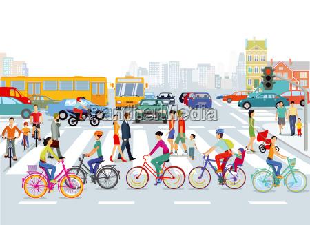 by trafikcyklister og fodgaengereillustration
