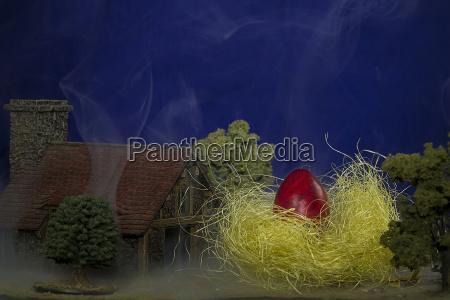 fumaca enorme pascoa ninho ovo de