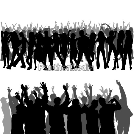 crowd silhouettes with hands up