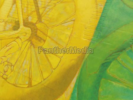 farverig abstrakt gul grunts vaegmaleri pa