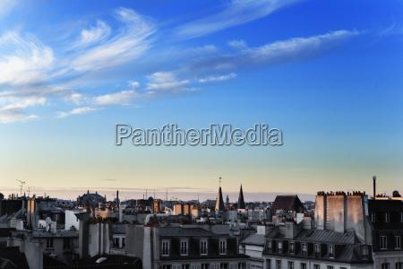 twilight paris cityscape