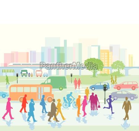 stor by med folk i byen