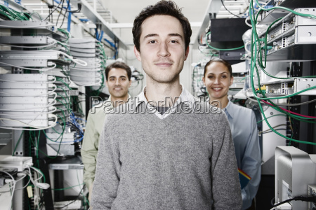 mixed race team of technicians working