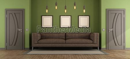 moderne gron og brun stue